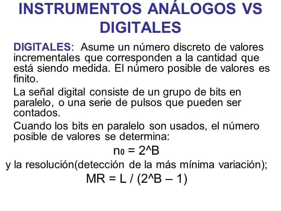 INSTRUMENTOS ANÁLOGOS VS DIGITALES DIGITALES: Asume un número discreto de valores incrementales que corresponden a la cantidad que está siendo medida.