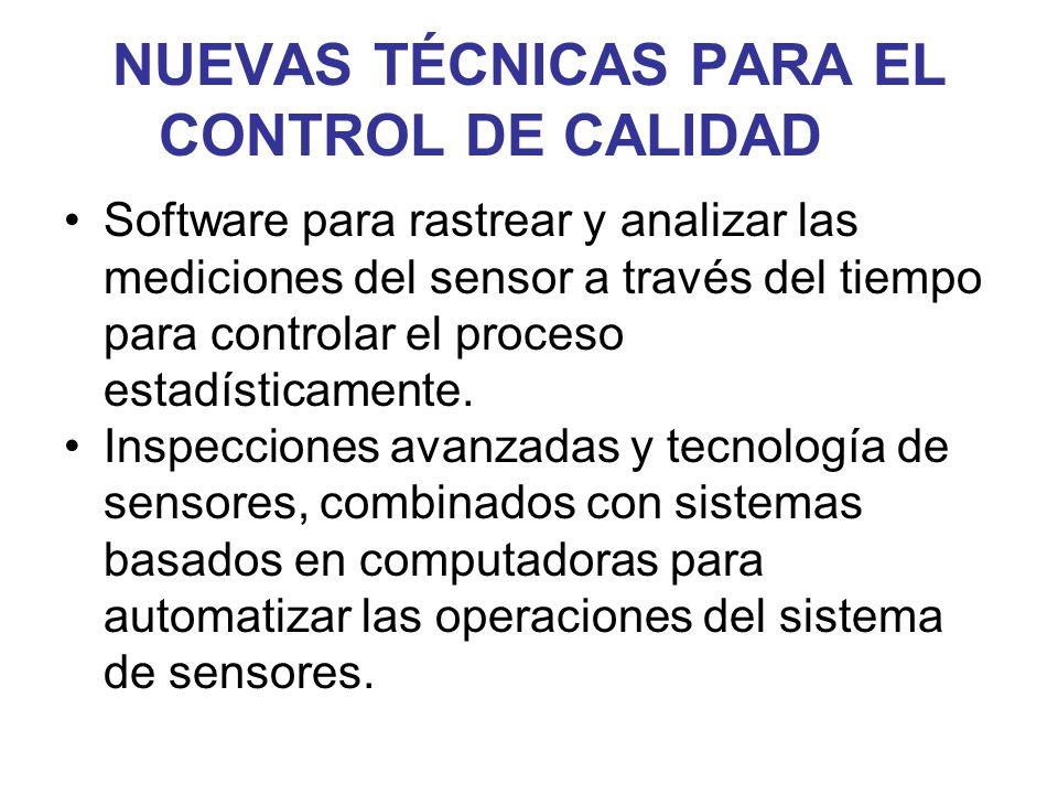 NUEVAS TÉCNICAS PARA EL CONTROL DE CALIDAD Software para rastrear y analizar las mediciones del sensor a través del tiempo para controlar el proceso e