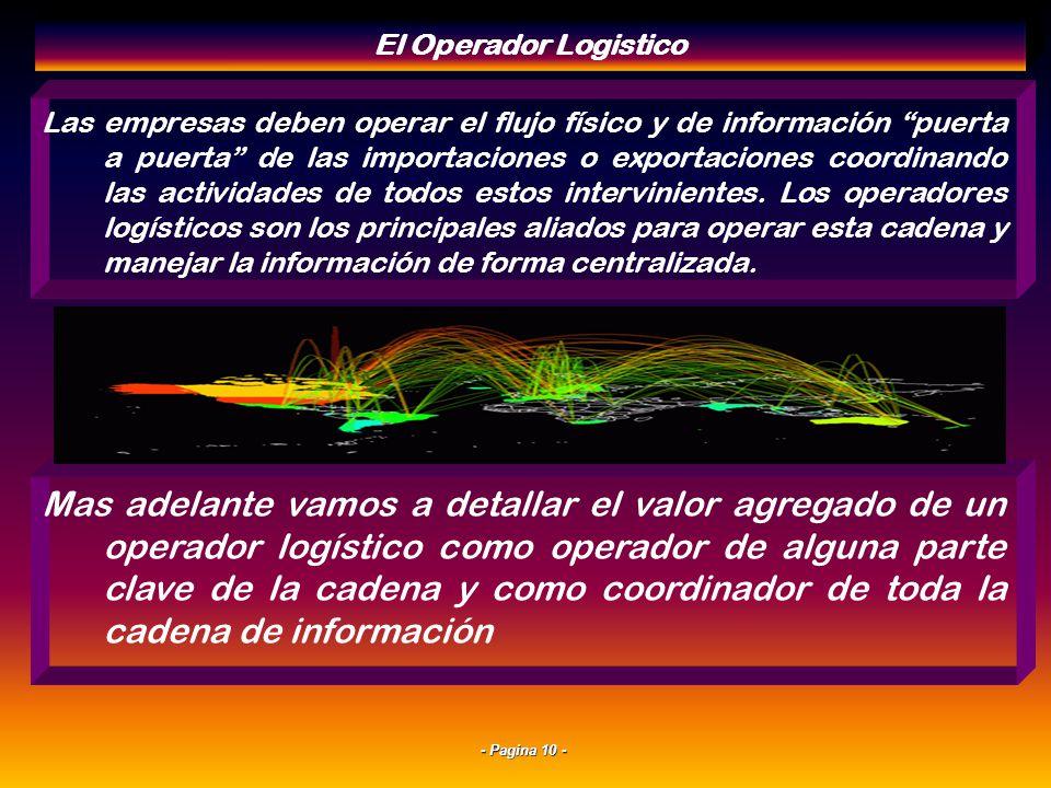 - Pagina 9 - Coordinacion de la Cadena Internacional Para superar estos generadores de costos hay que centralizar la gestión de responsabilidad logíst