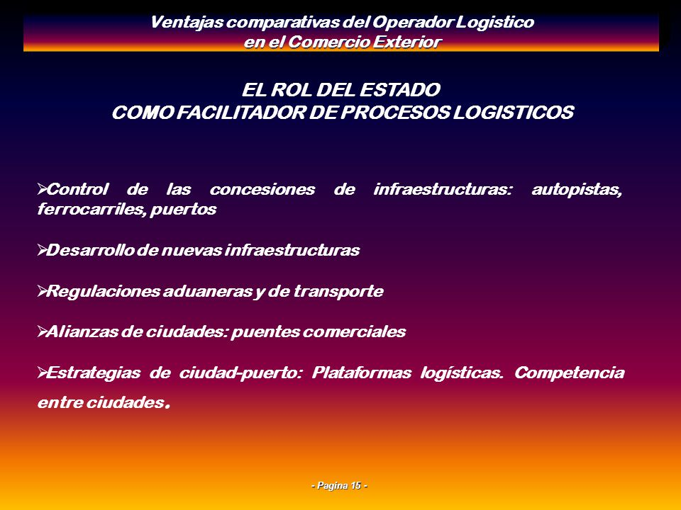 - Pagina 14 - INFRAESTRUCTURAS LOGISTICAS INTEGRADAS Combinación de modos de transporte: adecuada oferta de Puertos, carreteras, ferrocarril, aeropuer