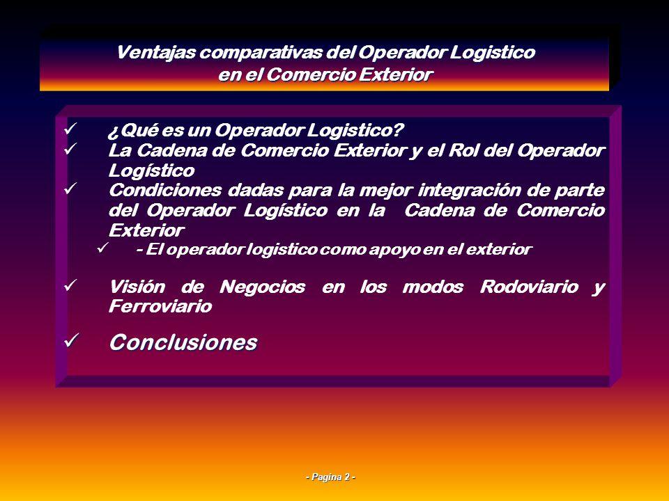 - Pagina 12 - EL TRIANGULO DE LA COMPETITIVIDAD LOGISTICA ACTORES LOGISTICOS ESTADO INFRAESTRUCTURA Ventajas comparativas del Operador Logistico en el Comercio Exterior