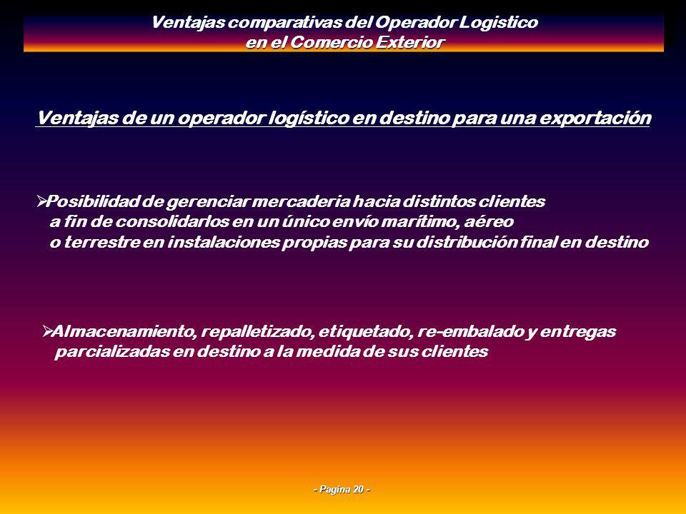 - Pagina 19 - Ventajas de un operador logístico en origen para una importación Sinergia en los pick up y cross docks en el exterior con plataformas lo