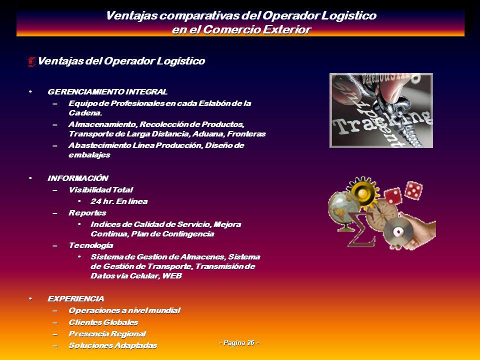- Pagina 25 - 4Características de los Modos de Transporte: Su Evaluación Comparativa Ventajas comparativas del Operador Logistico en el Comercio Exter