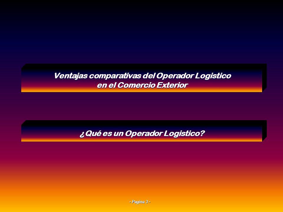 - Pagina 23 - Valor = Calidad x Servicio Tiempo de Respuesta x Costo 4Solución Logística Ventajas comparativas del Operador Logistico en el Comercio Exterior