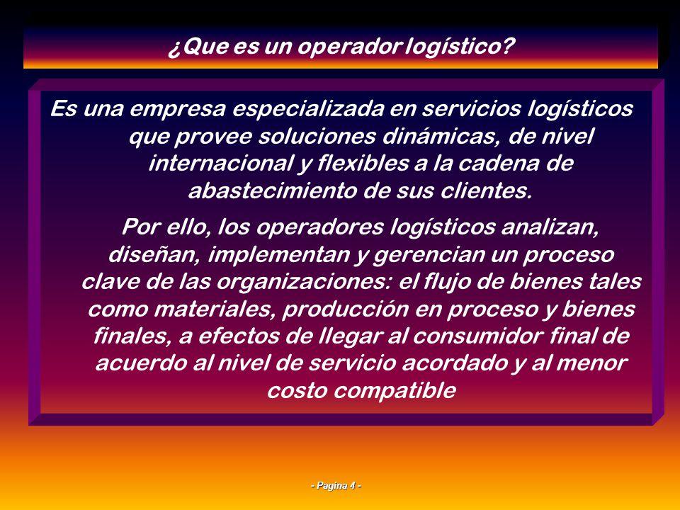 - Pagina 4 - Es una empresa especializada en servicios logísticos que provee soluciones dinámicas, de nivel internacional y flexibles a la cadena de abastecimiento de sus clientes.