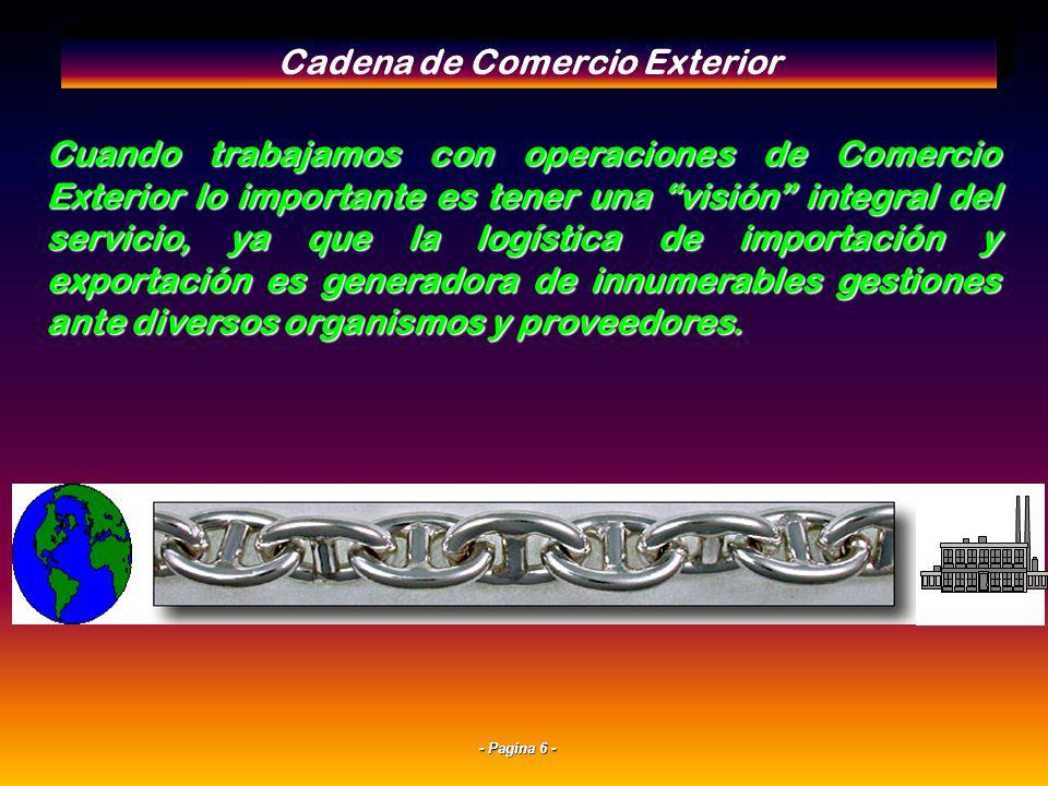 - Pagina 5 - La Cadena de Comercio Exterior y el Rol del Operador Logístico Ventajas comparativas del Operador Logistico en el Comercio Exterior