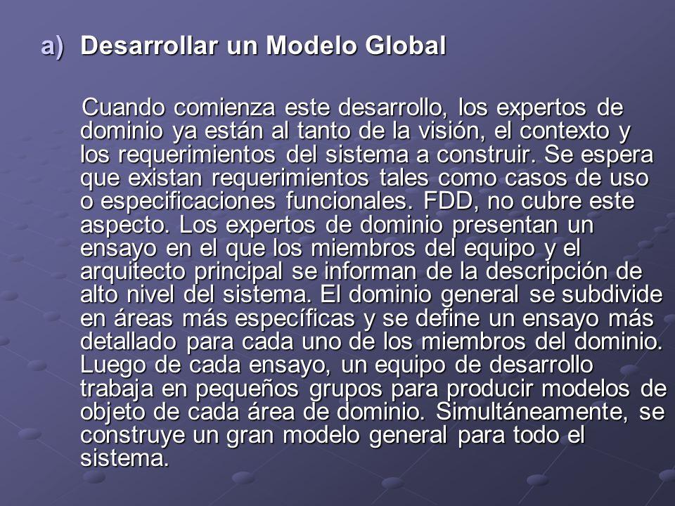 a)Desarrollar un Modelo Global Cuando comienza este desarrollo, los expertos de dominio ya están al tanto de la visión, el contexto y los requerimient