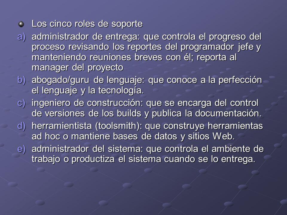 Los cinco roles de soporte a)administrador de entrega: que controla el progreso del proceso revisando los reportes del programador jefe y manteniendo