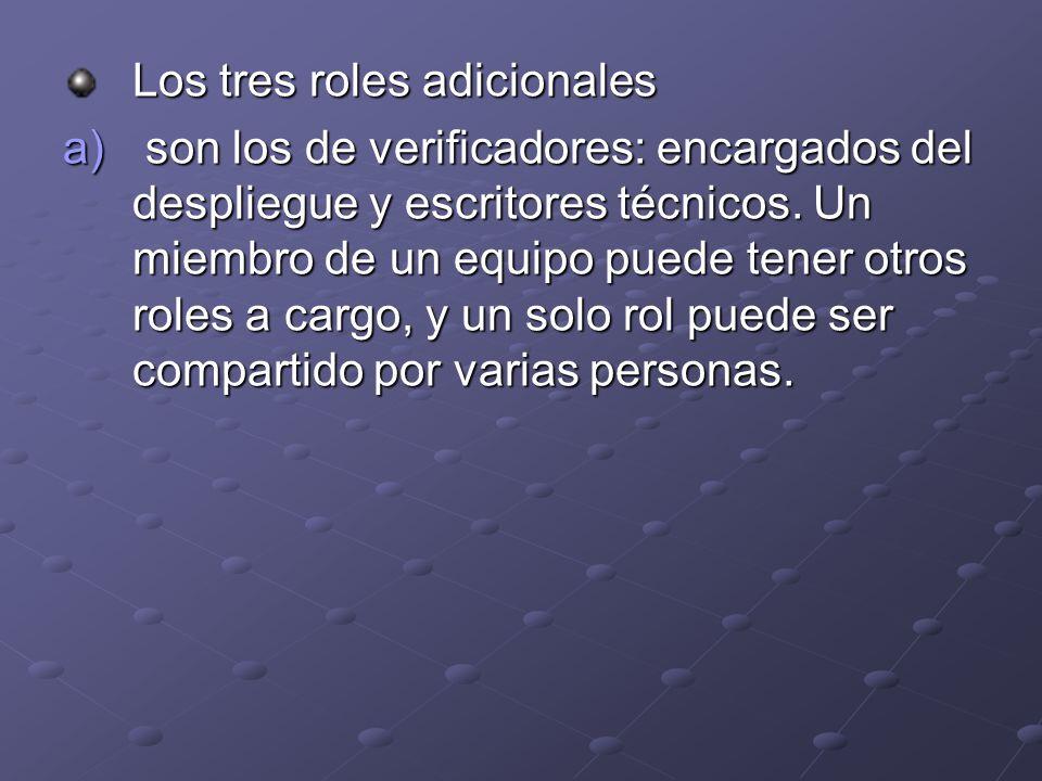 Los tres roles adicionales a) son los de verificadores: encargados del despliegue y escritores técnicos. Un miembro de un equipo puede tener otros rol