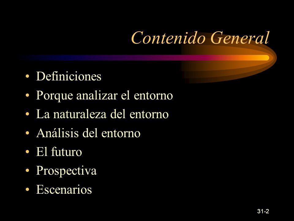 31-2 Contenido General Definiciones Porque analizar el entorno La naturaleza del entorno Análisis del entorno El futuro Prospectiva Escenarios