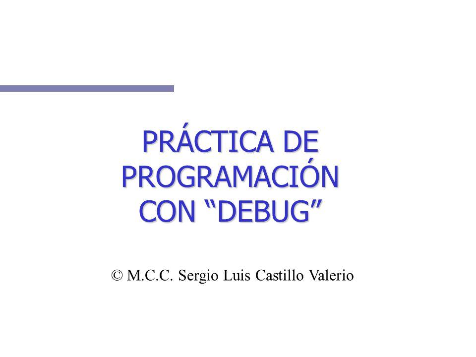 C:\>debug -a 100 1BA5:0100 mov ax,10 1BA5:0103 mov bx,20 1BA5:0106 add ax,bx 1BA5:0108 int 20 1BA5:010A - A manera de práctica capture el siguiente programa: A manera de práctica capture el siguiente programa:
