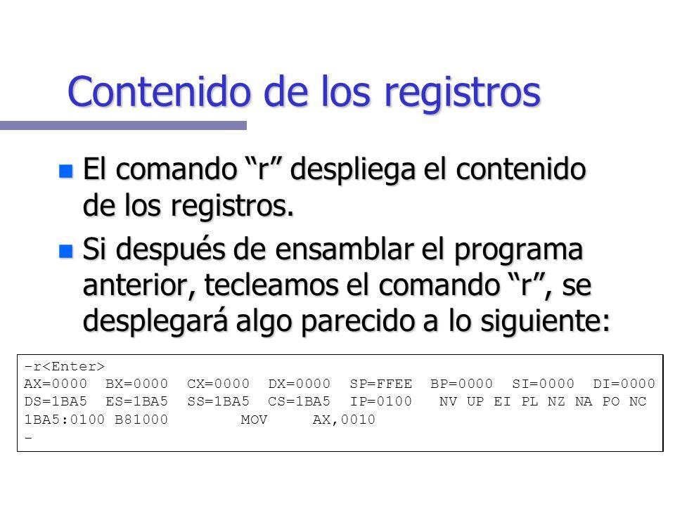 C:\>debug -a 100 1BA5:0100 mov ax,10 1BA5:0103 mov bx,20 1BA5:0106 add ax,bx 1BA5:0108 int 20 1BA5:010A - A manera de práctica capture el siguiente pr