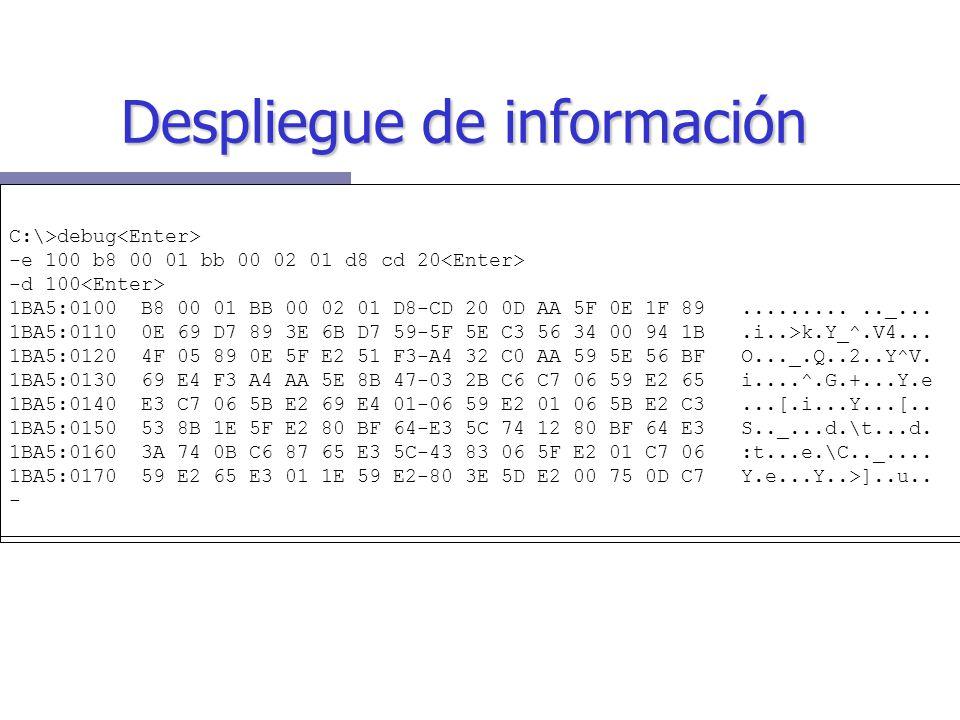 C:\>debug -e 100 b8 00 01 bb 00 02 01 d8 cd 20 -d 100 1BA5:0100 B8 00 01 BB 00 02 01 D8-CD 20 0D AA 5F 0E 1F 89..........._...