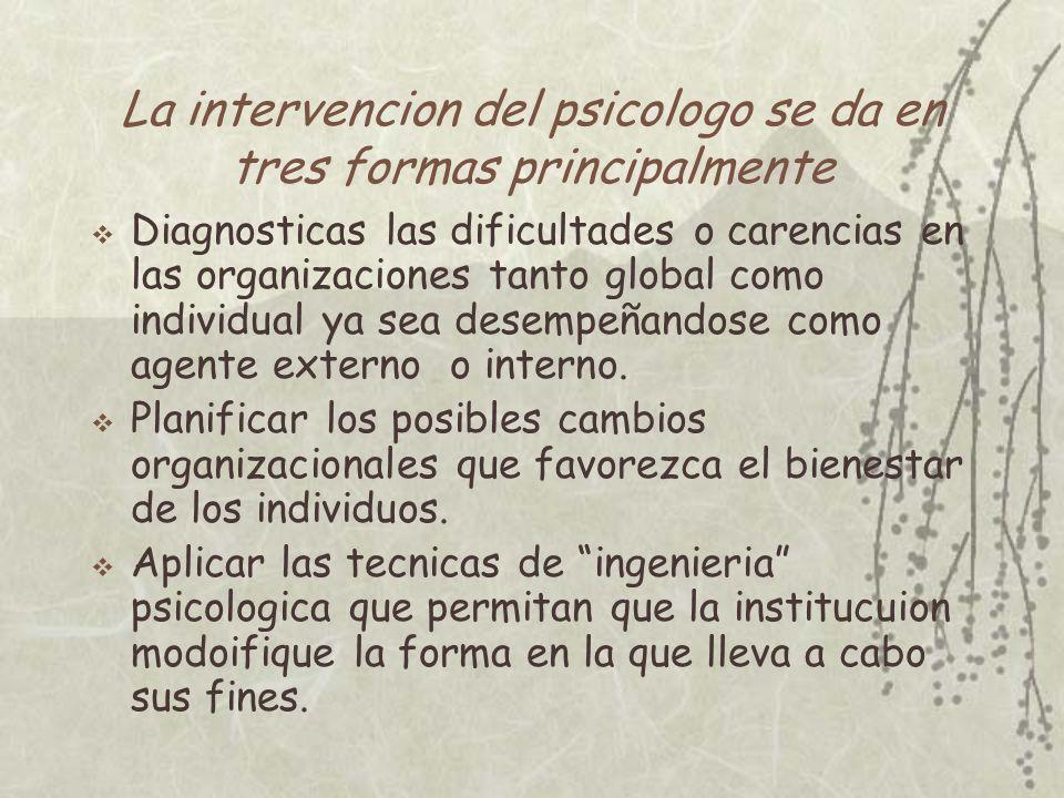 La intervencion del psicologo se da en tres formas principalmente Diagnosticas las dificultades o carencias en las organizaciones tanto global como in