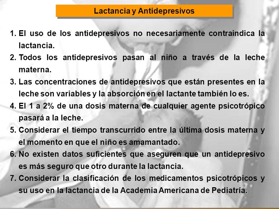 Lactancia y Antidepresivos 1.El uso de los antidepresivos no necesariamente contraindica la lactancia. 2.Todos los antidepresivos pasan al niño a trav