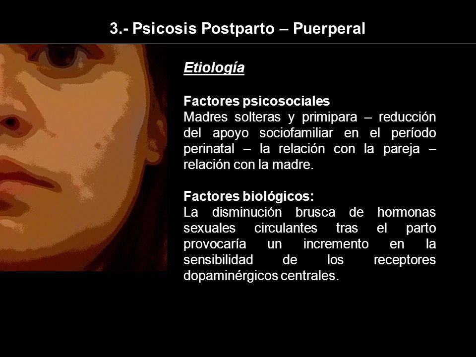 Etiología Factores psicosociales Madres solteras y primipara – reducción del apoyo sociofamiliar en el período perinatal – la relación con la pareja –