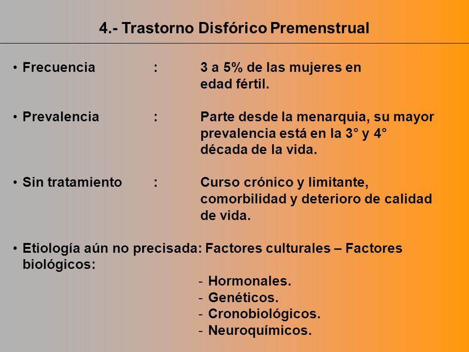 Frecuencia:3 a 5% de las mujeres en edad fértil. Prevalencia:Parte desde la menarquia, su mayor prevalencia está en la 3° y 4° década de la vida. Sin
