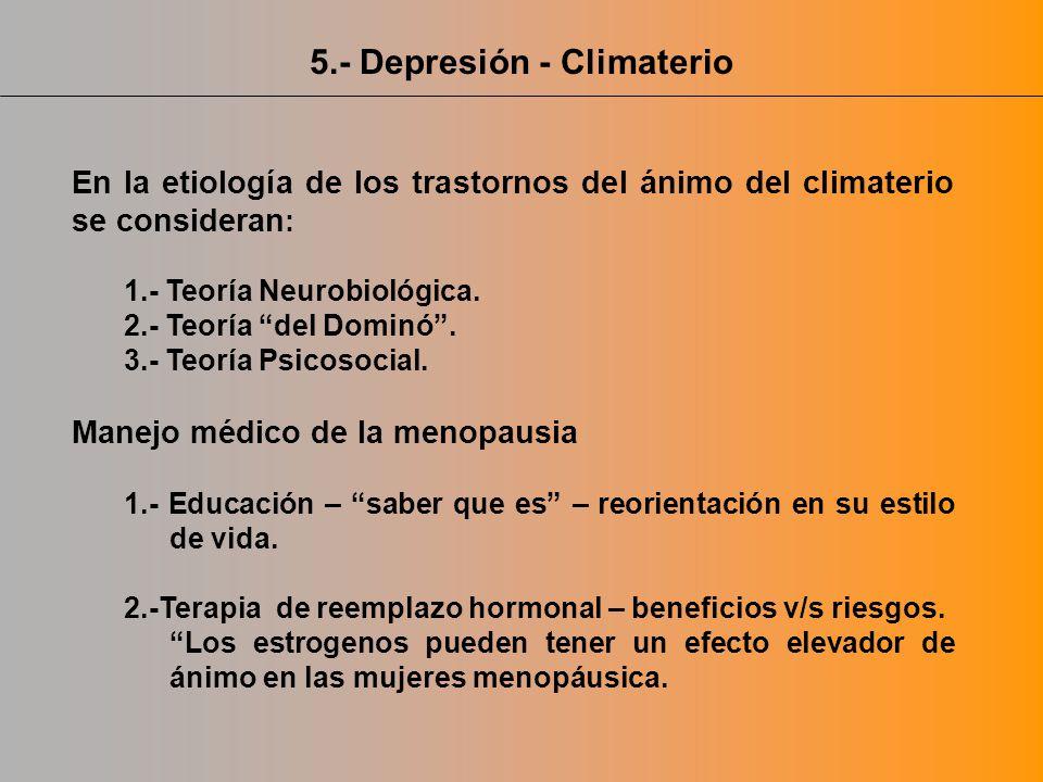 5.- Depresión - Climaterio En la etiología de los trastornos del ánimo del climaterio se consideran : 1.- Teoría Neurobiológica. 2.- Teoría del Dominó