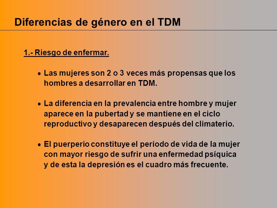 Diferencias de género en el TDM 1.- Riesgo de enfermar. Las mujeres son 2 o 3 veces más propensas que los hombres a desarrollar en TDM. La diferencia