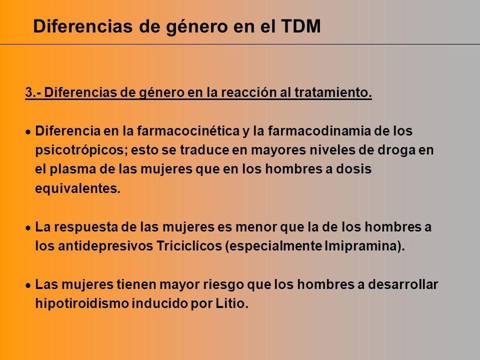 Diferencias de género en el TDM 3.- Diferencias de género en la reacción al tratamiento. Diferencia en la farmacocinética y la farmacodinamia de los p