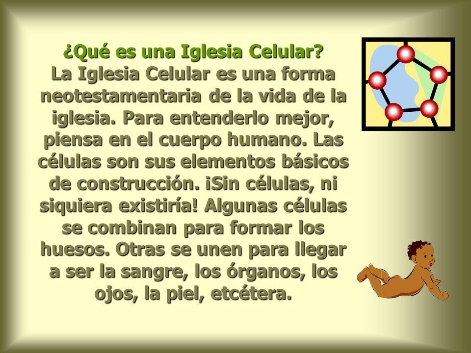 El elemento básico de construcción de una Iglesia Celular es una célula: una comunidad de 7 a 12 personas, reuniéndose una vez por semana durante 1 hora para realizar sus actividades.