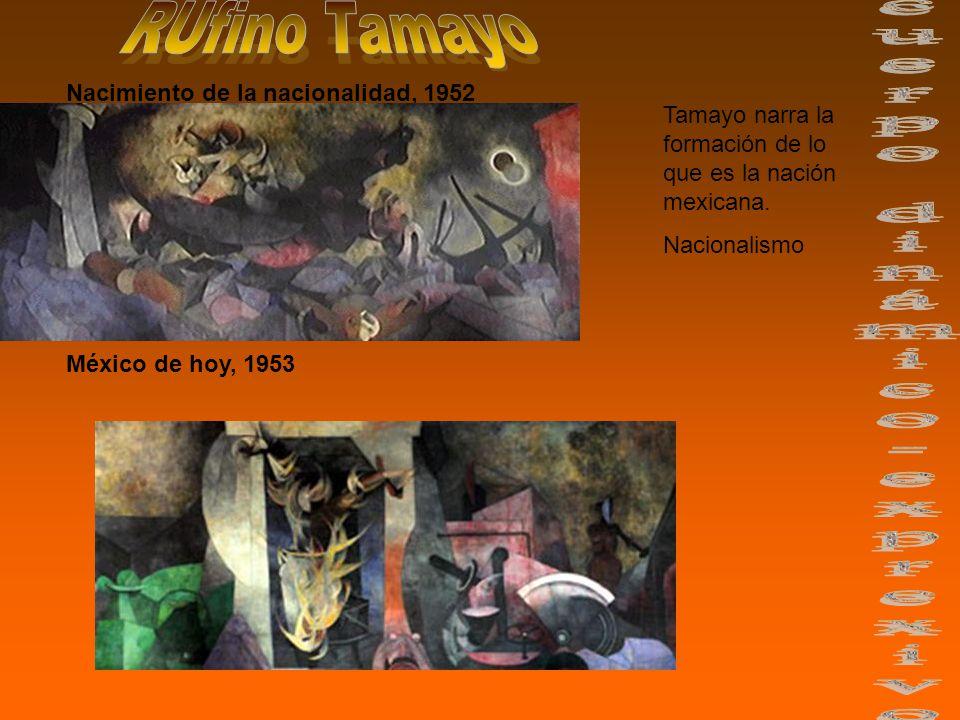 Nacimiento de la nacionalidad, 1952 México de hoy, 1953 Tamayo narra la formación de lo que es la nación mexicana.