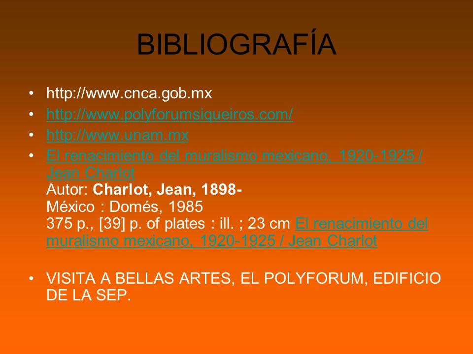BIBLIOGRAFÍA http://www.cnca.gob.mx http://www.polyforumsiqueiros.com/ http://www.unam.mx El renacimiento del muralismo mexicano, 1920-1925 / Jean Charlot Autor: Charlot, Jean, 1898- México : Domés, 1985 375 p., [39] p.