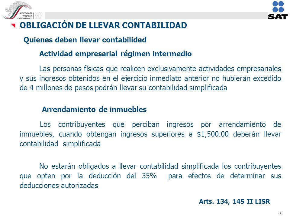 15 OBLIGACIÓN DE LLEVAR CONTABILIDAD Quienes deben llevar contabilidad Actividad empresarial régimen intermedio Las personas físicas que realicen excl