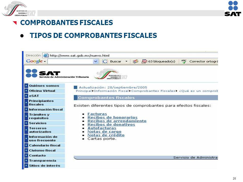 26 TIPOS DE COMPROBANTES FISCALES COMPROBANTES FISCALES