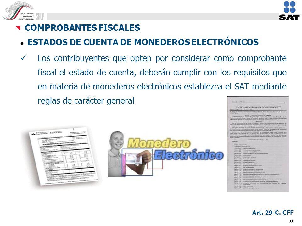 33 ESTADOS DE CUENTA DE MONEDEROS ELECTRÓNICOS Los contribuyentes que opten por considerar como comprobante fiscal el estado de cuenta, deberán cumpli