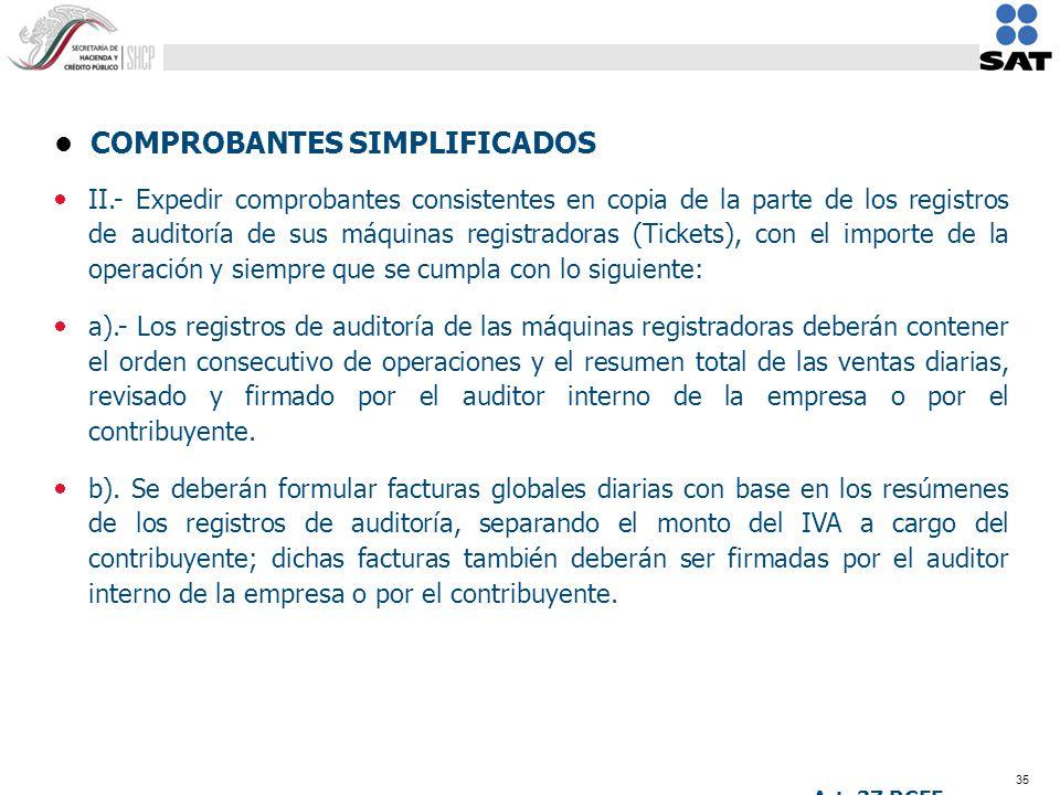 35 COMPROBANTES SIMPLIFICADOS II.- Expedir comprobantes consistentes en copia de la parte de los registros de auditoría de sus máquinas registradoras