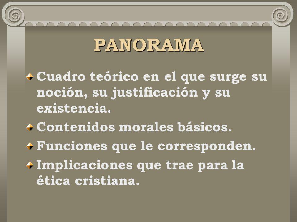PANORAMA Cuadro teórico en el que surge su noción, su justificación y su existencia.