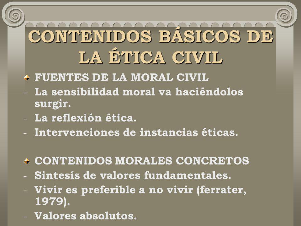 CONTENIDOS BÁSICOS DE LA ÉTICA CIVIL FUENTES DE LA MORAL CIVIL - La sensibilidad moral va haciéndolos surgir.