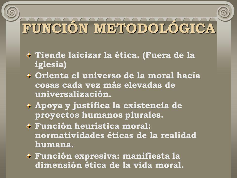 FUNCIÓN METODOLÓGICA Tiende laicizar la ética.