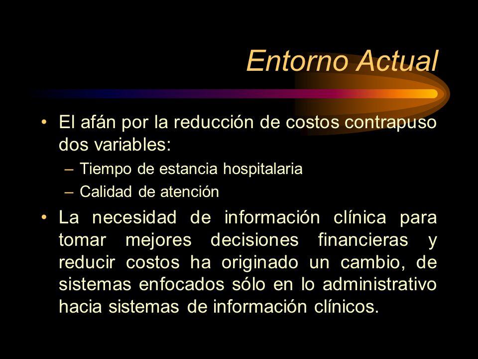 Entorno Actual El afán por la reducción de costos contrapuso dos variables: –Tiempo de estancia hospitalaria –Calidad de atención La necesidad de info