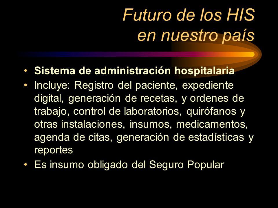 Futuro de los HIS en nuestro país Sistema de administración hospitalaria Incluye: Registro del paciente, expediente digital, generación de recetas, y