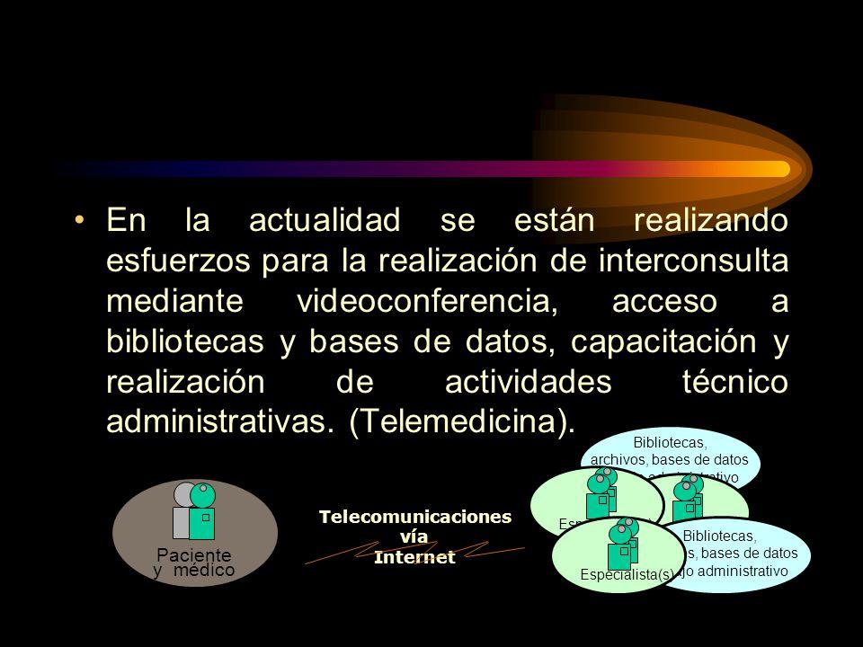En la actualidad se están realizando esfuerzos para la realización de interconsulta mediante videoconferencia, acceso a bibliotecas y bases de datos,