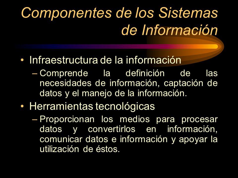 Componentes de los Sistemas de Información Infraestructura de la información –Comprende la definición de las necesidades de información, captación de