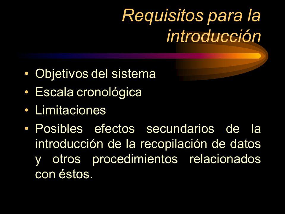 Requisitos para la introducción Objetivos del sistema Escala cronológica Limitaciones Posibles efectos secundarios de la introducción de la recopilaci