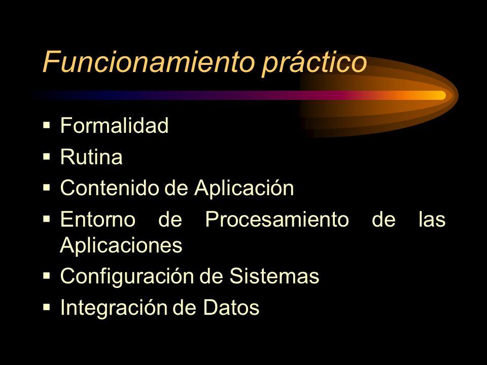 Funcionamiento práctico Formalidad Rutina Contenido de Aplicación Entorno de Procesamiento de las Aplicaciones Configuración de Sistemas Integración d