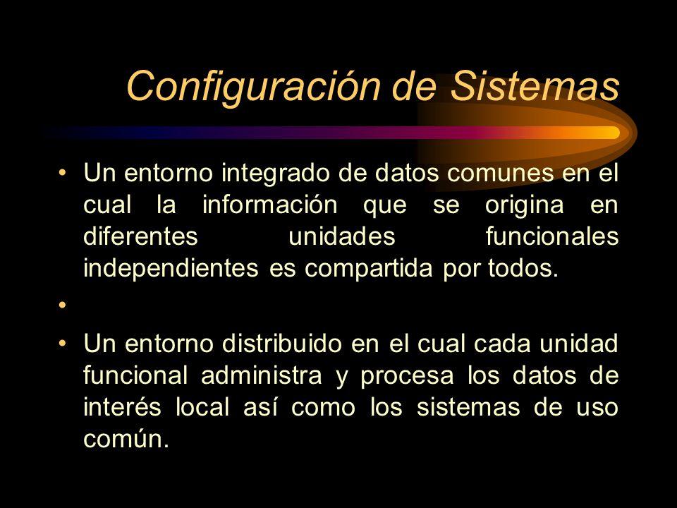 Configuración de Sistemas Un entorno integrado de datos comunes en el cual la información que se origina en diferentes unidades funcionales independie