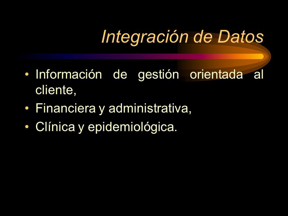 Integración de Datos Información de gestión orientada al cliente, Financiera y administrativa, Clínica y epidemiológica.