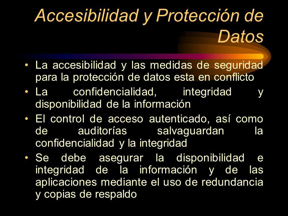 Accesibilidad y Protección de Datos La accesibilidad y las medidas de seguridad para la protección de datos esta en conflicto La confidencialidad, int