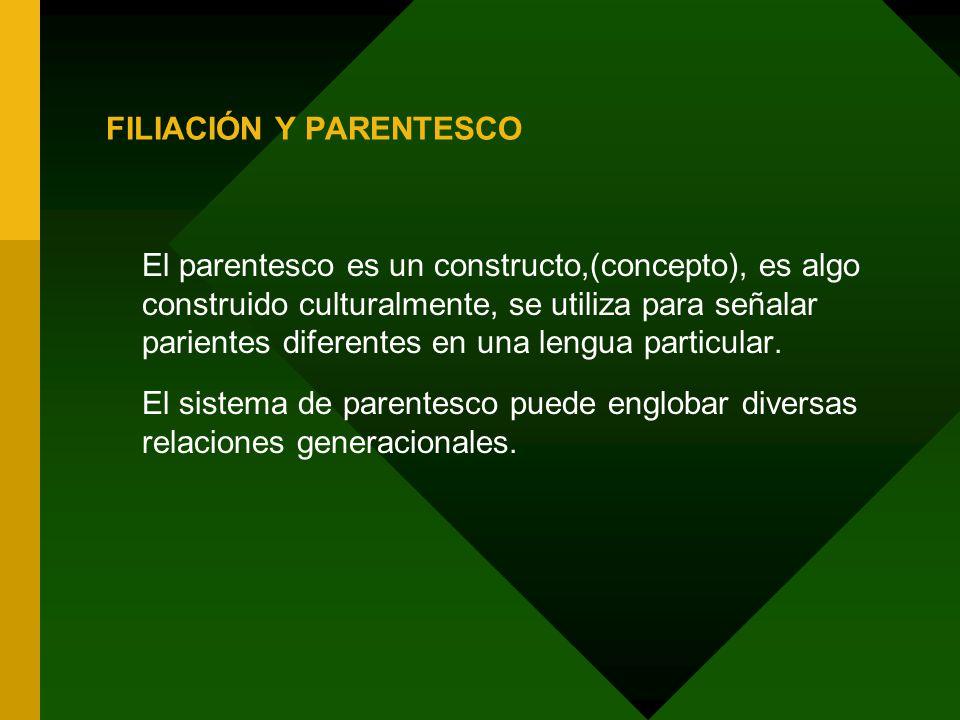 Sistemas de parentesco -Cumple un rol fundamental en la regulación de las relaciones interpersonales y en la organización política de las culturas.
