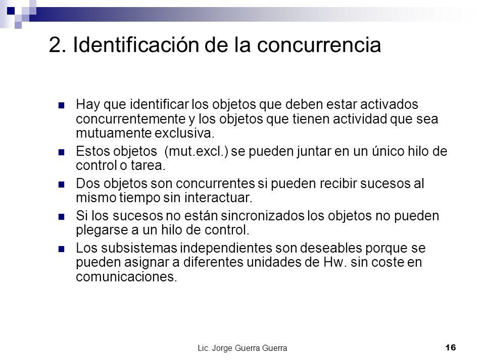 Lic. Jorge Guerra Guerra16 2. Identificación de la concurrencia Hay que identificar los objetos que deben estar activados concurrentemente y los objet