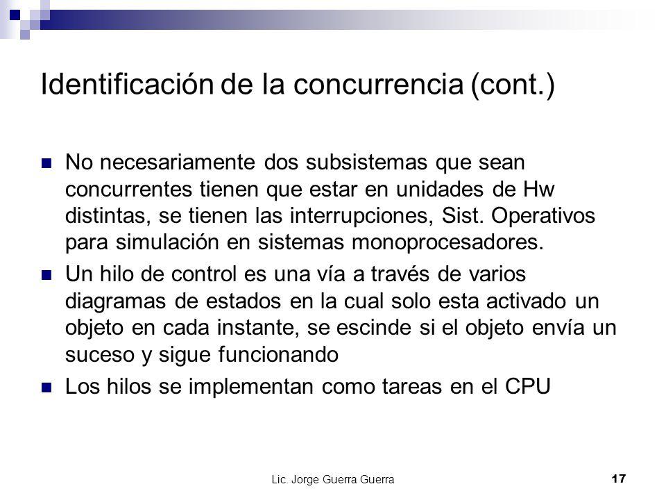 Lic. Jorge Guerra Guerra17 Identificación de la concurrencia (cont.) No necesariamente dos subsistemas que sean concurrentes tienen que estar en unida