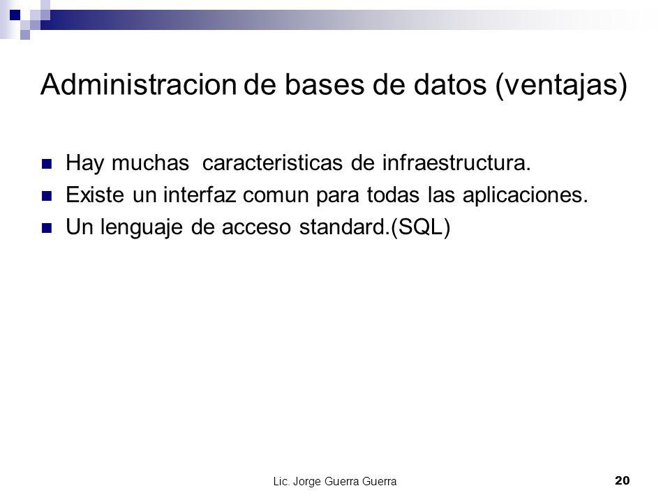 Lic. Jorge Guerra Guerra20 Administracion de bases de datos (ventajas) Hay muchas caracteristicas de infraestructura. Existe un interfaz comun para to