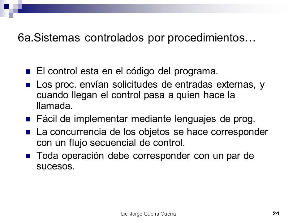 Lic. Jorge Guerra Guerra24 6a.Sistemas controlados por procedimientos… El control esta en el código del programa. Los proc. envían solicitudes de entr