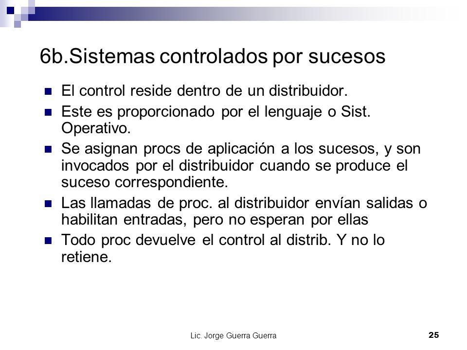 Lic. Jorge Guerra Guerra25 6b.Sistemas controlados por sucesos El control reside dentro de un distribuidor. Este es proporcionado por el lenguaje o Si