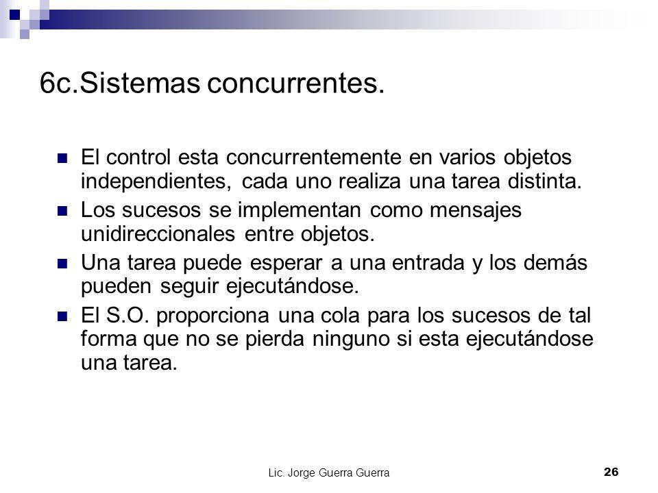 Lic. Jorge Guerra Guerra26 6c.Sistemas concurrentes. El control esta concurrentemente en varios objetos independientes, cada uno realiza una tarea dis